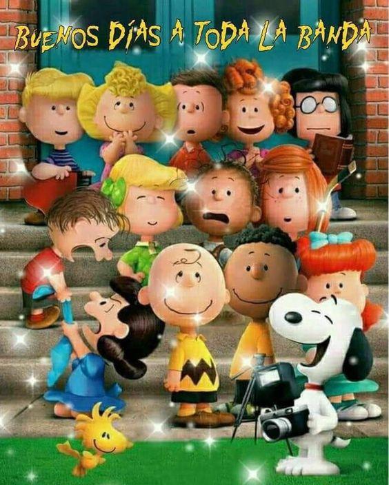 Snoopy y Charlie Brown buenos días